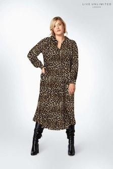 Live Unlimited Curve Animal Frill Shirt Dress