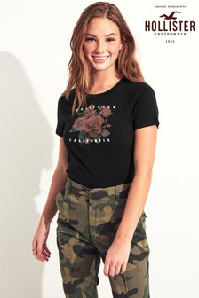 Hollister Black Rose Logo T-Shirt