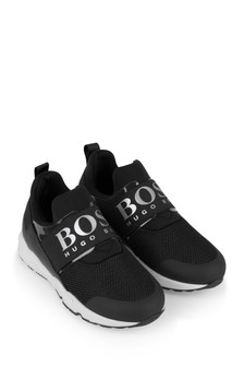Boys Black Logo Trainers