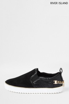 River Island Black Slip On Shoes With Trim