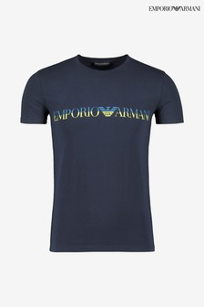 Armani Navy Crew Neck Logo Top
