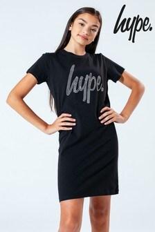 Hype. Black Diamanté Script Kids T-Shirt Dress