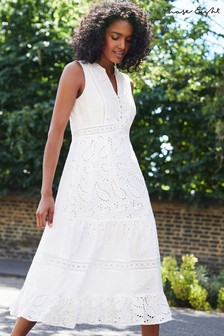 Phase Eight White Lula Paisley Embroidered Dress