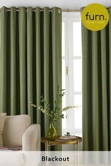 Furn Green Moon Blackout Eyelet Curtains