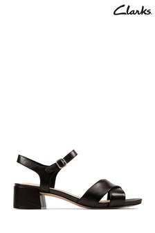 Clarks Black Leather Sheer35 Strap Sandals