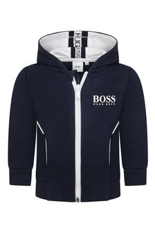 Baby Boys Blue Logo Zip-Up Top