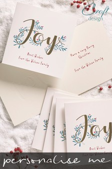 20 Pack Personalised Joy Foiled Christmas Cards by Croft Designs