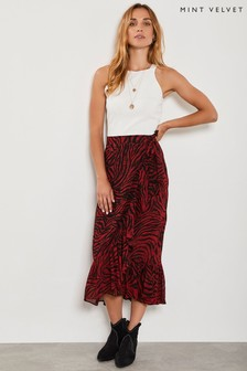 Mint Velvet Red Naomi Print Wrap Skirt
