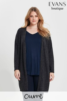 Evans Curve Charcoal Soft Touch Cardigan