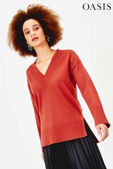 Oasis Orange V-Neck Step Hem Jumper