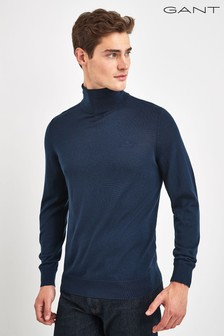 GANT Blue Washable Merino Turtleneck