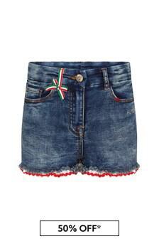 Monnalisa Girls Blue Cotton Shorts