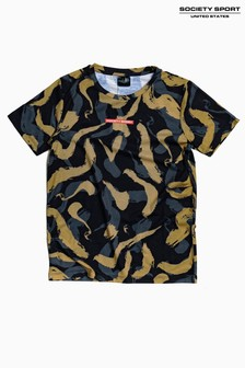 Society Sport Kids Khaki Brush Stroke T-Shirt