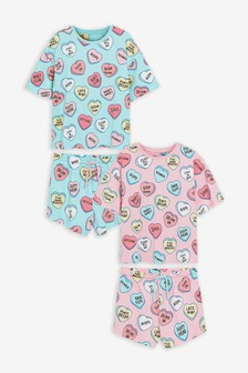 2 Pack Cotton Over Sized T-Shirt And Short Pyjamas (3-16yrs)