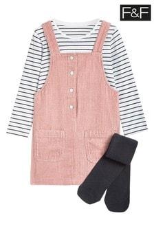 F&F Pink Cord Pinny, T-Shirt And Tight Set