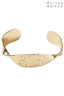 Oliver Bonas Gold Tone Sculptural Twist Brass Cuff