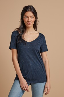 Metallic V-Neck Half Sleeve T-Shirt
