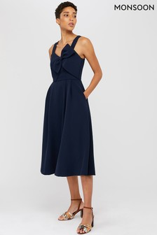 Monsoon Ladies Blue Alexa Bow Fit & Flare Dress