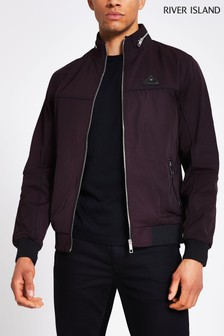 River Island Red Berry Badged Nylon Racer Jacket