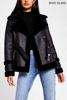 River Island Black Maximus Belted Shearling Jacket
