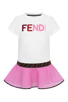 Fendi Kids Girls White & Pink Logo Dress