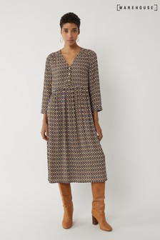 Warehouse Black Geo Print Midi Smock Dress