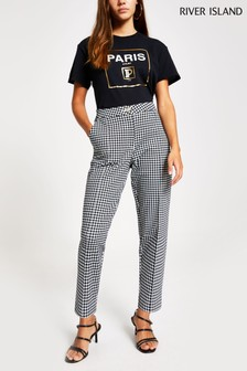 River Island Petite Black Check Dogtooth Cigarette Trousers