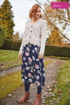 Joules Navy Floral Side Button Skirt