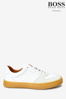 BOSS White Logo Trainers