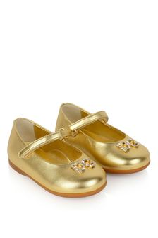 Dolce & Gabbana Kids Girls Gold Leather Ballerina Shoes