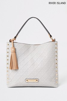 River Island Grey Embossed Chain Front Slouch Bag