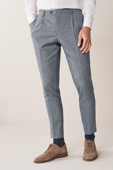 Textured Linen Blend Suit: Trousers