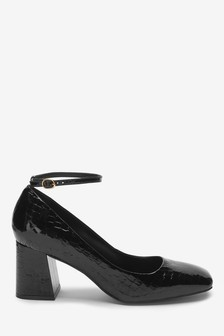 Signature Ankle Strap Square Toe Court Shoes