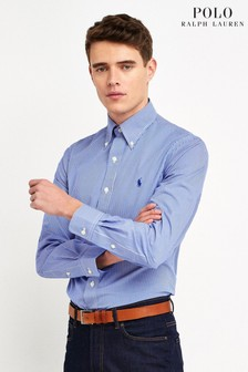 Polo Ralph Lauren Blue Stripe Custom Fit Poplin Shirt
