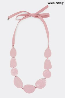White Stuff Pink Marble Bead Necklace