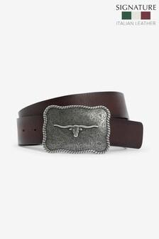 Signature Italian Leather Plaque Belt