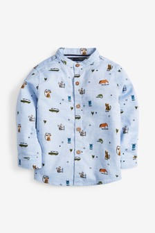 Long Sleeve Animal Print Grandad Shirt (3mths-7yrs)