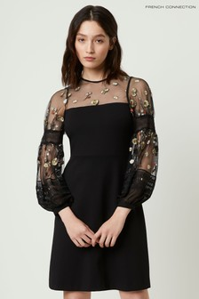 French Connection Black Paulette Embroideried Dress