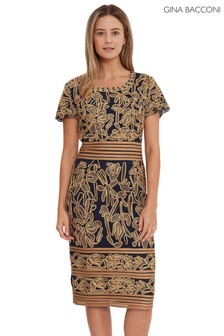 Gina Bacconi Gold Dove Corded Lace Dress