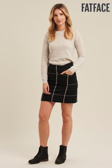 FatFace Black Beth Check Skirt