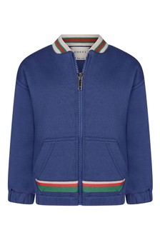 Baby Boys Blue Cotton Zip Up Top