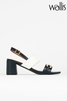 Wallis Stephanie Navy Trim Block Heel Sandals