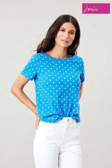 Joules Blue Alverton Print V-Neck Backed T-Shirt