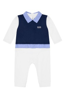 Baby Boys Navy/White Layered All-In-One
