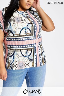 River Island White Print Grown On Sleeve Plisseé Top