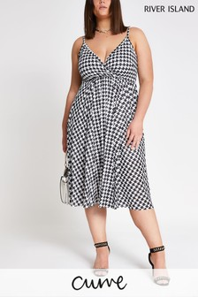 River Island Houndstooth Plus Pleat Dress