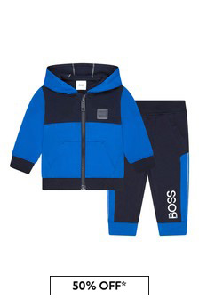 Baby Boys Blue Cotton Tracksuit