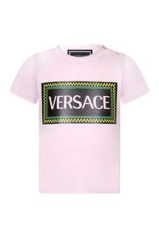 Versace Baby Girls Pink Cotton Taped Logo T-Shirt
