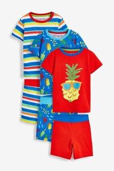 3 Pack Pineapple Print Short Pyjamas (9mths-8yrs)