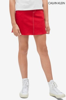 Calvin Klein Red Jeans A-Line Denim Skirt